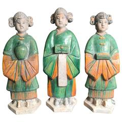 Important Ancient Chinese Trio Women Handmade Hand Glazed, Ming Dynsty 1368-1644