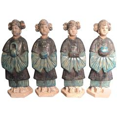 Important Ancient Chinese Four Women Cobalt Blue Glazed Ming Dynasty, 1368-1644