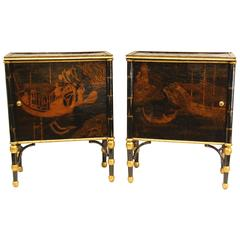 Pair of English Regency Chinoiserie Decorated Cabinets with Gold Accents