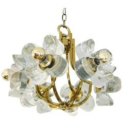 Mid-Century Glass and Brass Chandelier