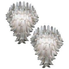 Great Pair of Chandeliers in Precious Murano Glass