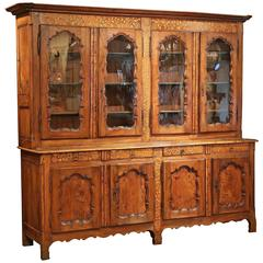 19th Century French Walnut Inlay Four-Door Buffet Bibliotheque with Glass Top