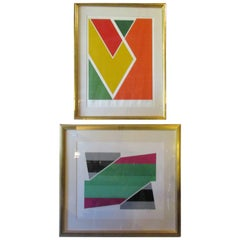 Larry Zox Untitled Pair of 1970s Silkscreens