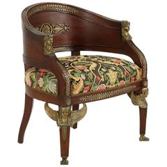Fine Egyptian Revival Bronze Mounted Mahogany Tub Armchair, circa 1860-1880