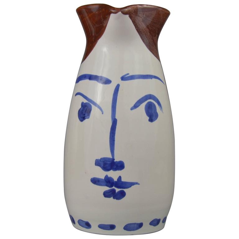 Pablo Picasso Madoura Ceramic Turned Pitcher Face Tankard, 1959