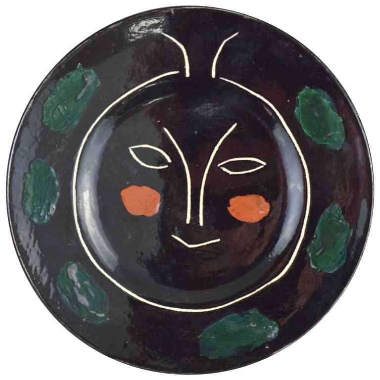 Pablo Picasso Madoura Ceramic Black Face Plate J, 1948 For Sale