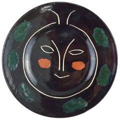 Pablo Picasso Madoura Ceramic Black Face Plate J, 1948