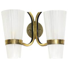 Brass Italian Mid-Century Modern Sconce Striped Satin Glass Cone Shades