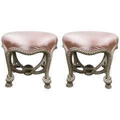 Pair of Fournier Style Silvered Rope Footstools