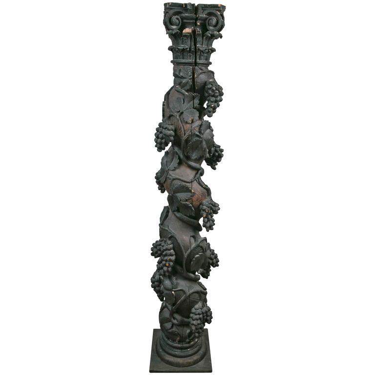 Hand-Carved 17th-18th Century Italian Wood Column