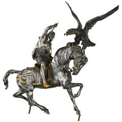 Italian 800 Solid Silver Horse Arab Warrior and Eagle