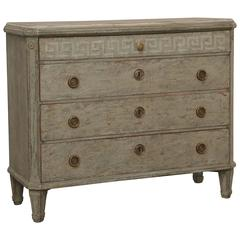 Antique Swedish Gustavian Painted Chest with Faux Finishes, Early 19th Century