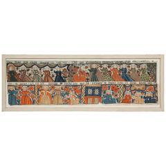 Antique Swedish Rare Folk Art Panel, Early 19th Century