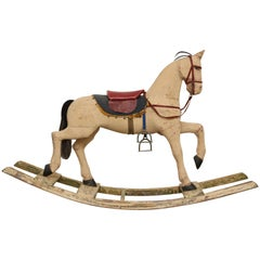 Antique Swedish Painted Rocking Horse by Gemla Mobler Early 20th Century