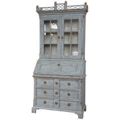 Antique Swedish Gustavian Style Painted Secretary-Bookcase, Mid-19th Century