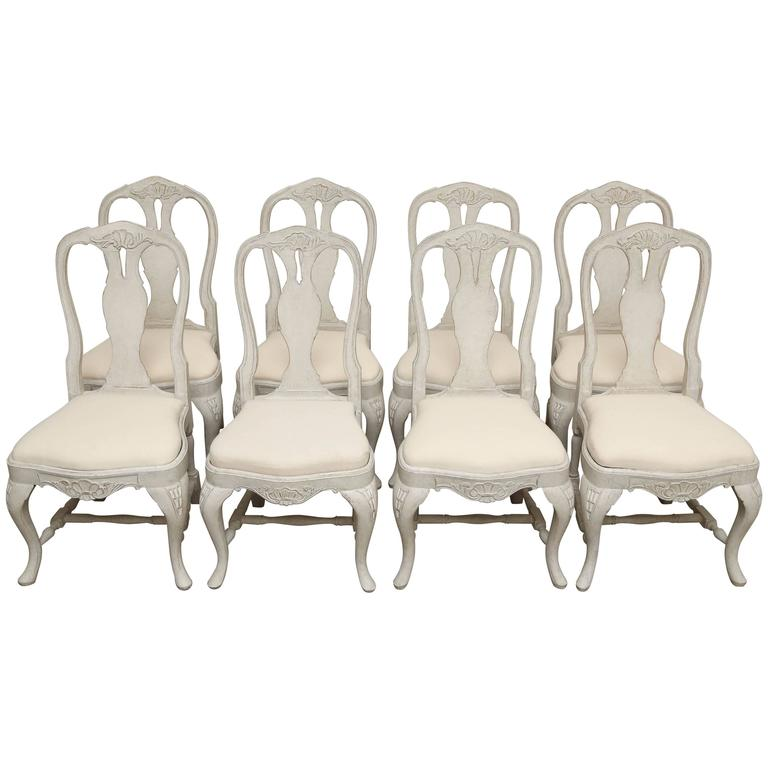 Set of eight antique swedish baroque style painted dining for Swedish style dining chairs