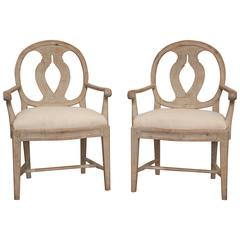 Pair of Antique Swedish Late Gustavian Armchairs, 19th Century