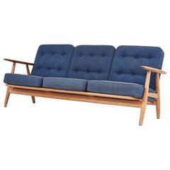 Early Oak Hans Wegner Cigar Sofa, Denmark, 1950s-1960s