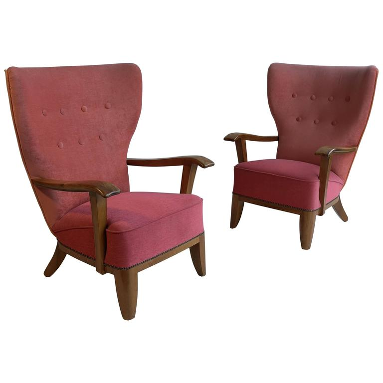 Pair of Three-Tone Wingback Armchairs, France, 1940s