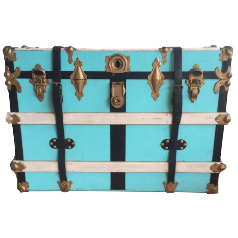 Vintage Steamer Trunk in Leather, Wood and Metal, Mid-Century