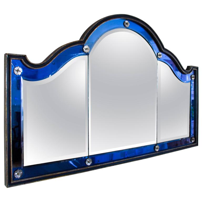Blue and White Glass Overmantel Mirror