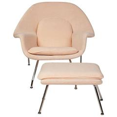 Eero Saarinen for Knoll Womb Chair with Ottoman Upholstered in Pink Terry Cloth