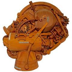 1960s Redwood Industrial Sculpture