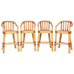 Set of Four Rattan and Leather Bar Stools by McGuire