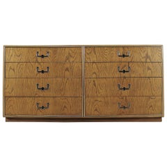 Vintage Mid-Century Campaign Style Eight-Drawer Dresser by Founders Furniture