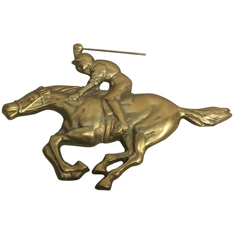 1960s Jockey and Horse Solid Brass Wall Plaque Sculpture For Sale
