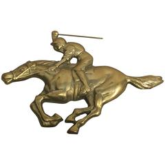 1960s Jockey and Horse Solid Brass Wall Plaque Sculpture