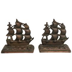 19th Century Bronze Ship Bookends, Pair