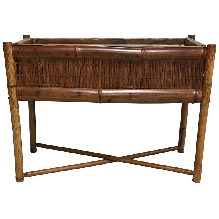 1960s Bamboo Raised Planter with Liner