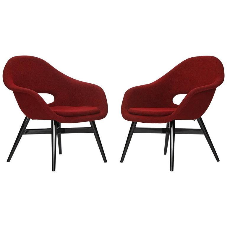 vintage red lounge chairs by frantisek jirak for tatra