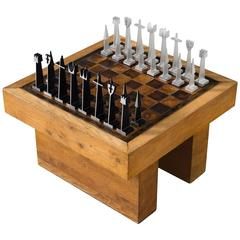 Austin Enterprises Aluminum Chess Game and Table in Leather