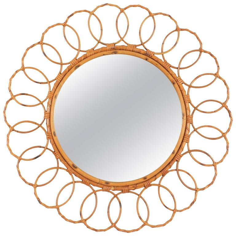 Large 1960s Spanish Bamboo Circular Mirror Framed with Rattan Circles For Sale