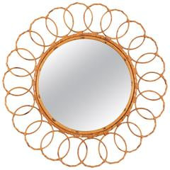 Large 1960s Spanish Bamboo Circular Mirror Framed with Rattan Circles