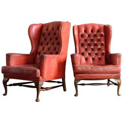 Red Leather Wingback Armchairs