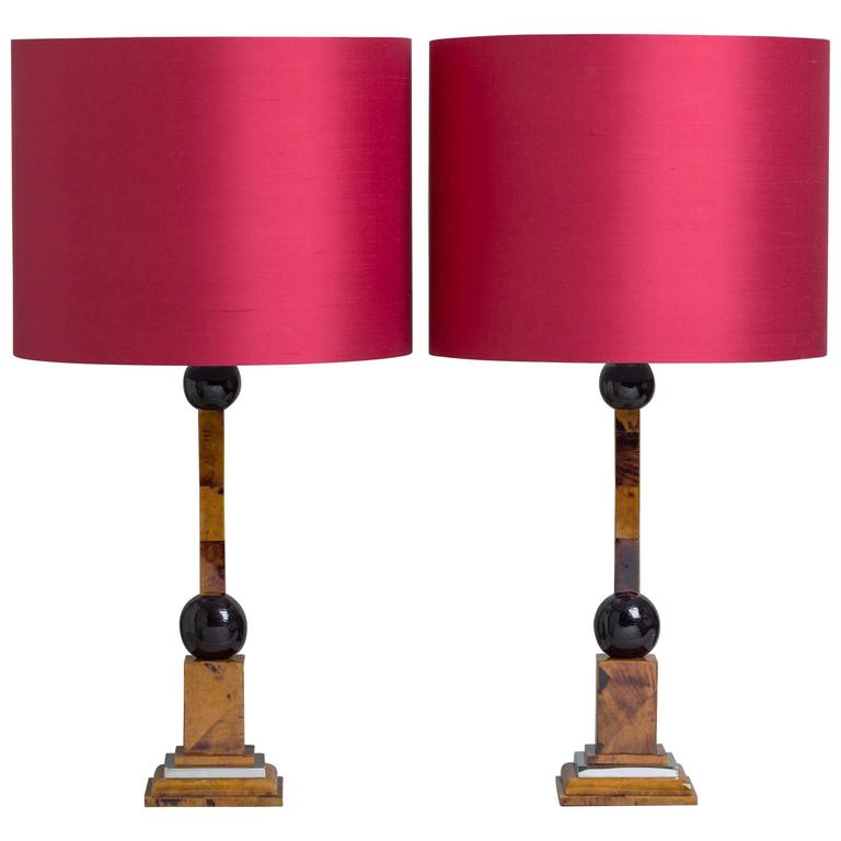 Pair of Maitland-Smith Stone Veneered Table Lamps, 1970s