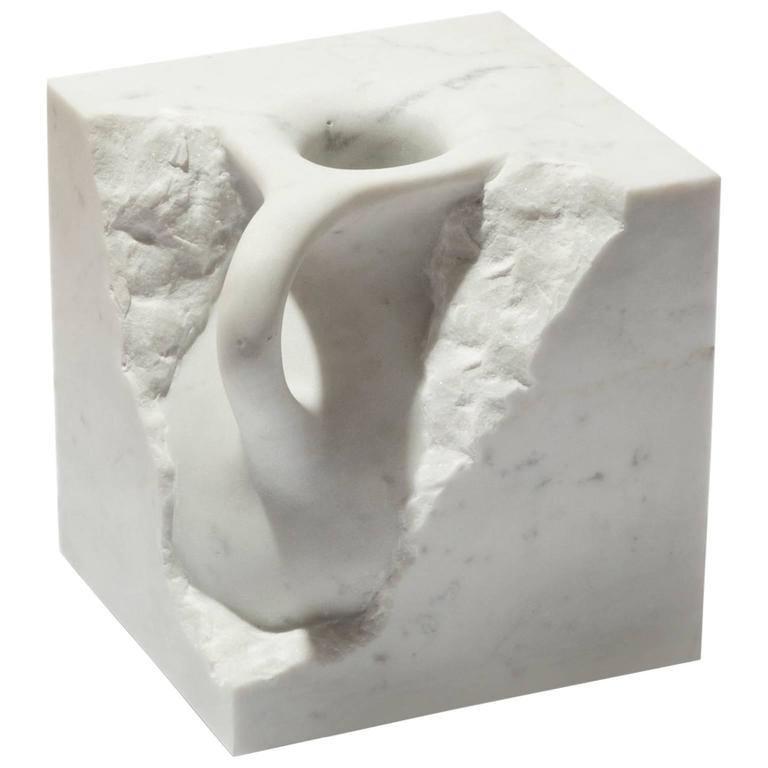 Svelata Small Vase, Contemporary Hand-Carved Carrara Marble Vessel For Sale