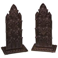 Pair of Mid-19th Century Bronze Gothic Letter-Racks