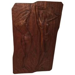 Mid-Century Modern Woodcarving Nude Bathing Beauty