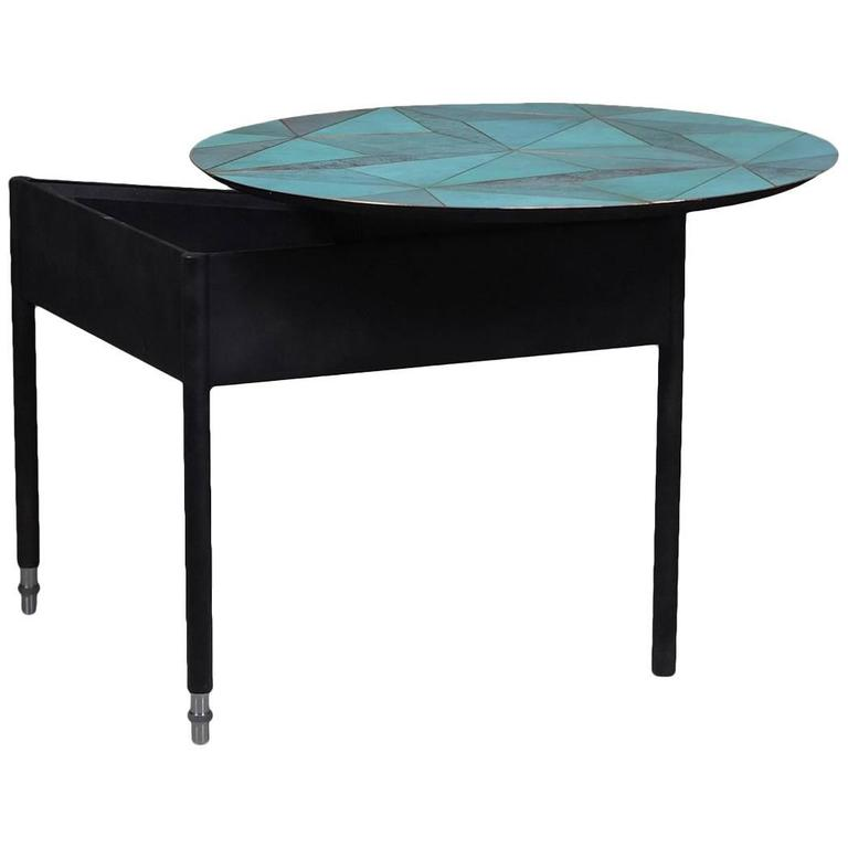 Marque' Coffee Table, Contemporary Inlaid Metal Coffee Table For Sale