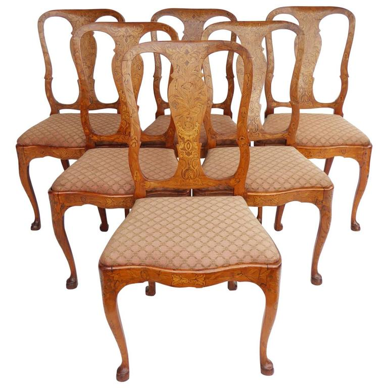 Set of Six 19th Century Dutch Marquetry Dining Chairs