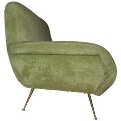 Italian Mid-Century Design Sofa Peluche, 1950s Original Fabric
