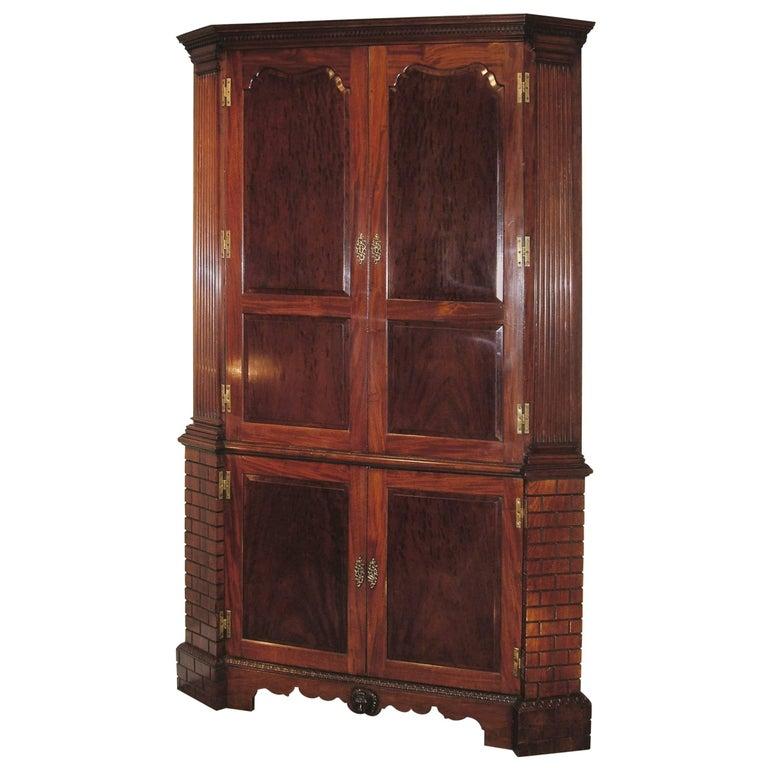 Antique Mid-18th Century Mahogany Corner Cupboard For Sale