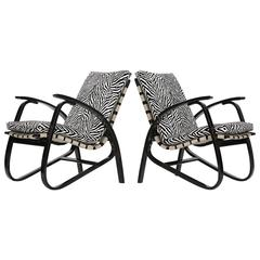 Zebra Print Armchairs by Jan Vanek, 1935, Set of Two