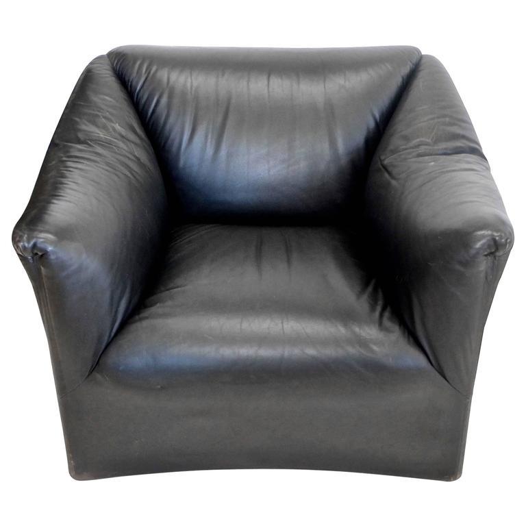 Juan Montoya Custom Black Leather Lounge Chair