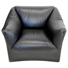 Juan Montoya Custom Black Leather Lounge Chair