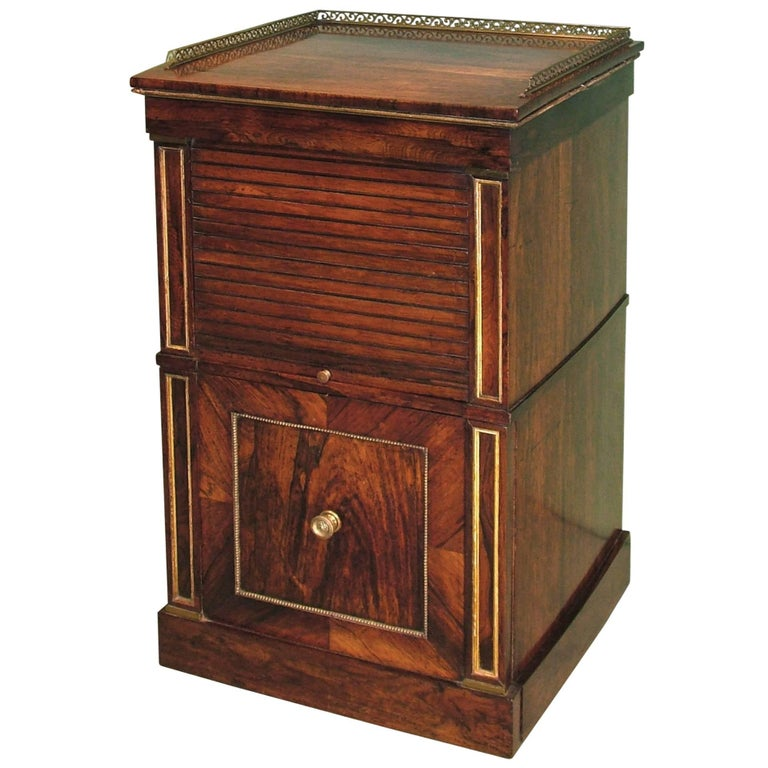 19th Century Rosewood Tambour Bedside Cabinet For Sale